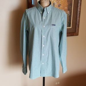 Blue and green striped Chaps shirt, size large